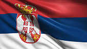 Serbian flag with fabric structure