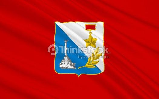 Flag Of Sevastopol In The Southwest Of The Crimean Peninsula Stock