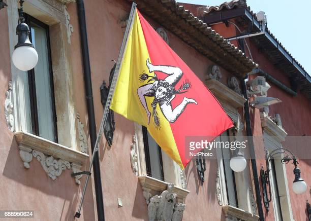 Flag of Sicily Region during the second day of G7 Taormina summit on the island of Sicily in Taormina Italy on May 27 2017