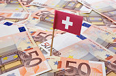 Flag of Switzerland sticking in european banknotes.(series)
