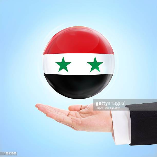 Flag of  Syria being supported by a hand
