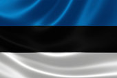 3D rendering of the flag of Estonia on satin texture.