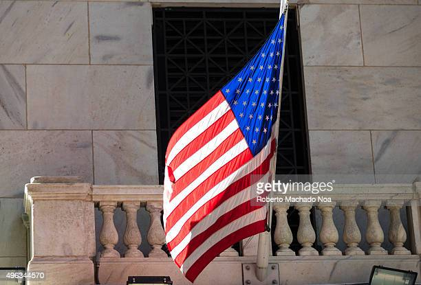 Flag of the United States of America in Wall Street The flag is also known as Stars and Stripes