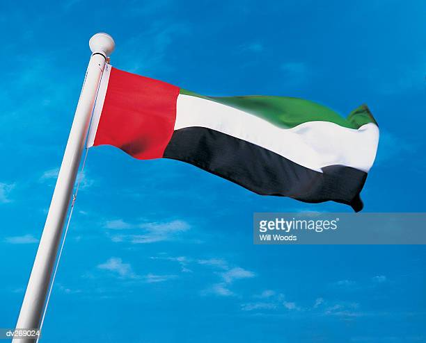 Flag of United Arab Emirates on flagpole waving in the wind