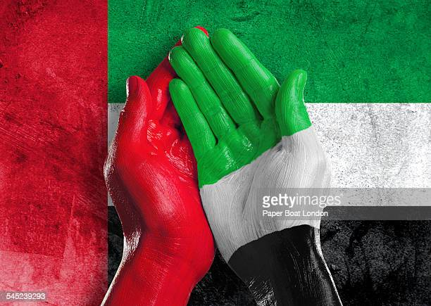 Flag of United Arab Emirates  painted on two hands