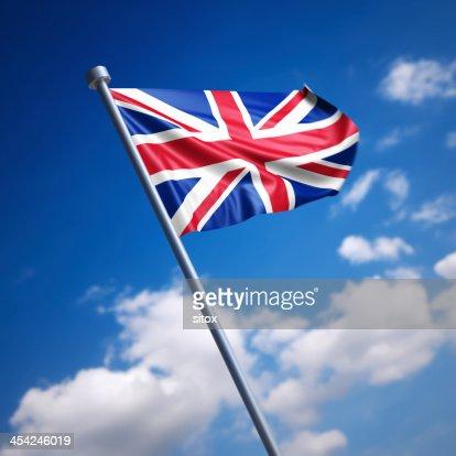 Flag of United Kingdom, the - against blue sky : Stock Photo