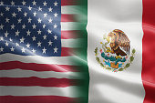 Flag of United States of America and Mexico - indicates partnership, agreement, or trade wall and conflict between these two countries