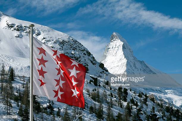 Flag of Wallis/Valais with the Matterhorn in background