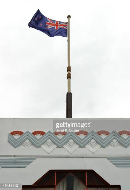 NZ flag on Art Deco Building in Napier