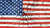 USA Flag On Cracked Concrete 3d illustration