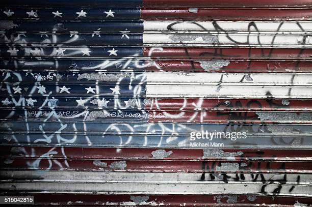 Flag on metal shutters