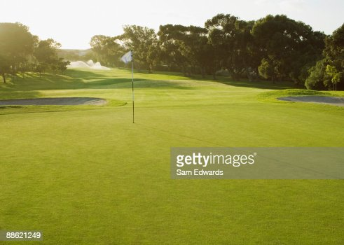 Flag on putting green of golf course