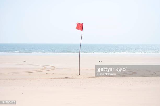 Flag on the beach, Qingdao, China