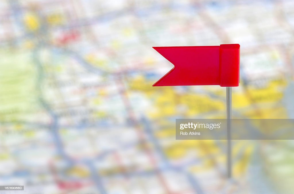 Flag pin in a map