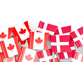 Flag pins of Canada and Denmark isolated on white. 3D illustration