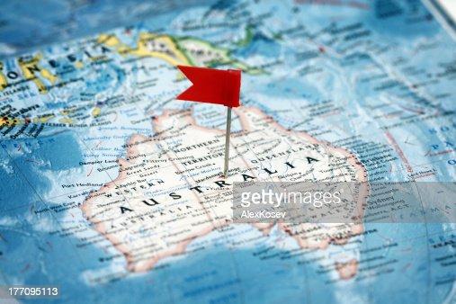 Flag  pointing  Australia : Stock Photo