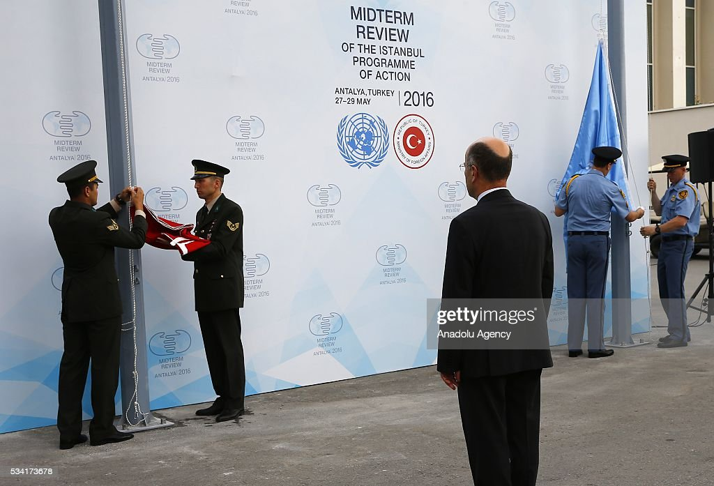 A flag raising ceremony for the flags of the United Nations and Turkey at the Titanic Hotel where Midterm Review of the Istanbul Programme of Action, in Antalya, Turkey on May 25, 2016. The Midterm Review conference for the Istanbul Programme of Action for the Least Developed Countries will take place in Turkey's Antalya from 27-29 May 2016.