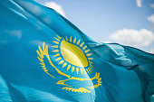 Wind develops flag of the Republic of Kazakhstan