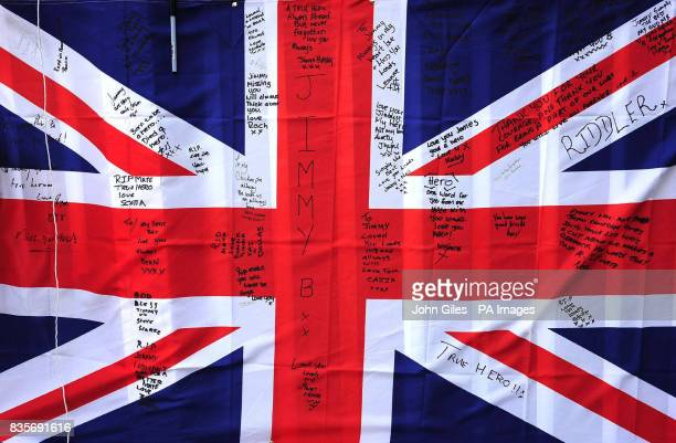 A flag signed by friends and family for Rifleman Jimmy Backhouse who was killed whilst serving in Afghanistan