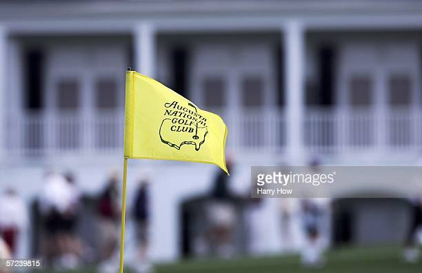 A flag stick in front of the clubhouse during practice for The Masters on April 3 2006 at the Augusta National Golf Club in Augusta Georgia