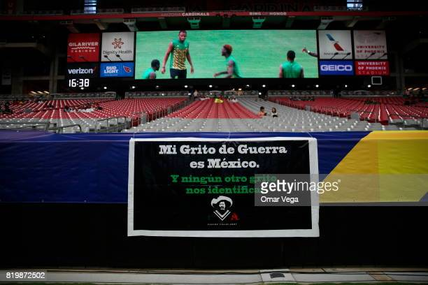 A flag that reads 'My cry of war is Mexico' is seen prior to the CONCACAF Gold Cup 2017 quarterfinal match between Mexico and Honduras at University...