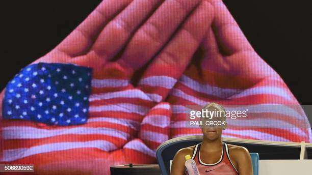 Madison Keys of the US looks on from the bench during her women's singles match against China's Zhang Shuai on day eight of the 2016 Australian Open...