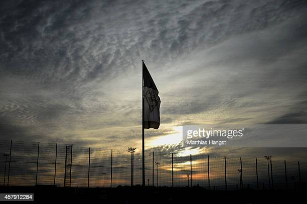 A flag with a logo of Borussia Moenchengladbach seen prior to the Bundesliga match between Borussia Moenchengladbach and FC Bayern Muenchen at...