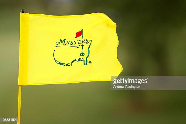 A flag with an Augusta National logo waves in the breeze during the first round of the 2010 Masters Tournament at Augusta National Golf Club on April...