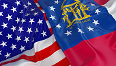 Close-up of USA flag with flag of Georgia