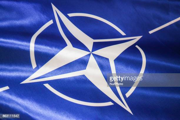 A flag with official emblem of NATO during press conference for the opening of NATO Counter Intelligence Centre of Excellence opens in Krakow Poland...