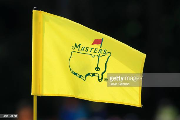 A flag with the Augusta National logo is seen during the Par 3 Contest prior to the 2010 Masters Tournament at Augusta National Golf Club on April 7...