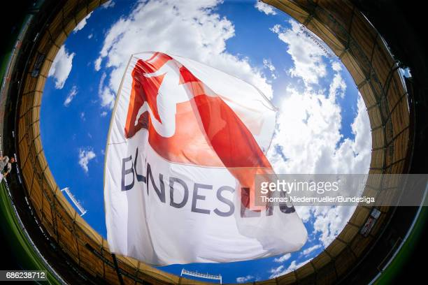 A flag with the Bundesliga logo is seen prior to the Second Bundesliga match between VfB Stuttgart and FC Wuerzburger Kickers at MercedesBenz Arena...