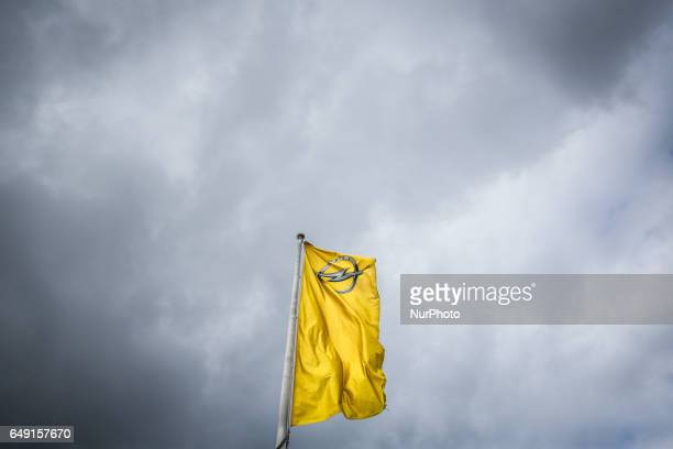 A flag with the logo of Opel company outside the Opel car factory of General Motors Manufacturing Poland in Gliwice Poland on March 7 2017 General...
