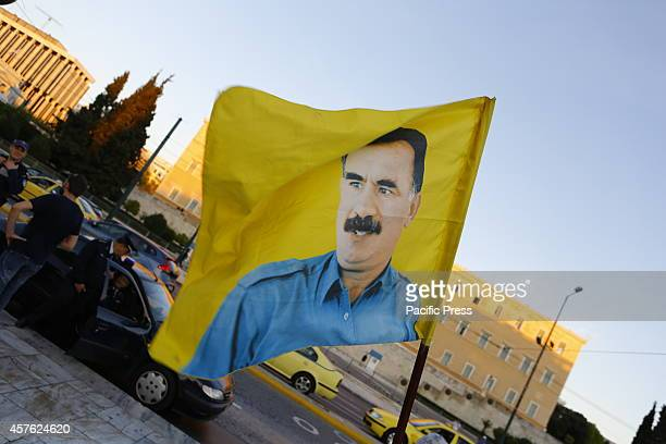 SQUARE ATHENS ATTICA GREECE A flag with the picture of imprisoned PKK leader Abdullah Öcalan flies at the protest Kurds living in Greece marched to...