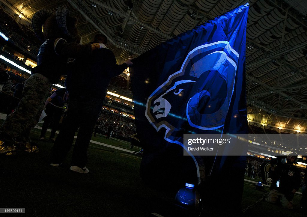 A flag with the St. Louis Rams logo is illuminated prior to player introductions during the game against the New York Jets at the Edward Jones Dome on November 18, 2012 in St. Louis, Missouri.