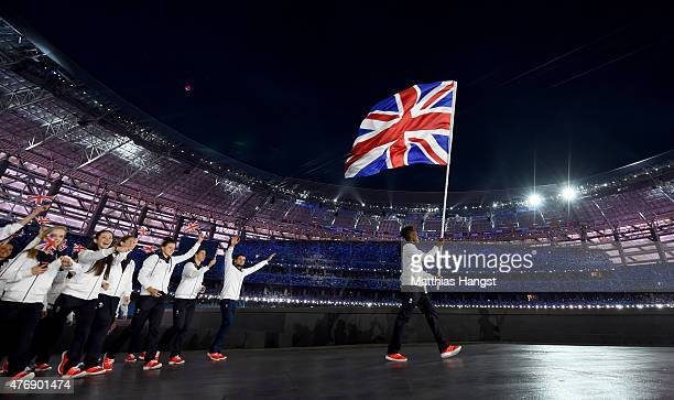 Flagbearer and boxer Nicola Adams of Great Britain leads her team into the stadium during the Opening Ceremony for the Baku 2015 European Games at...