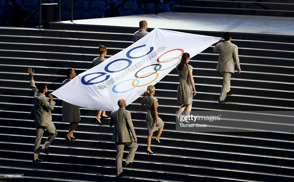 Flagbearers Namig Adullayev of Azerbaijan, Thomas Bimis of Greece, <a gi-track='captionPersonalityLinkClicked' href=/galleries/search?phrase=Niccolo+Campriani&family=editorial&specificpeople=5945371 ng-click='$event.stopPropagation()'>Niccolo Campriani</a> of Italy, Lucie Decosse of France, <a gi-track='captionPersonalityLinkClicked' href=/galleries/search?phrase=Krisztina+Fazekas&family=editorial&specificpeople=2288888 ng-click='$event.stopPropagation()'>Krisztina Fazekas</a> Zur of Hungary, <a gi-track='captionPersonalityLinkClicked' href=/galleries/search?phrase=Katie+Taylor+-+Boxe&family=editorial&specificpeople=9601582 ng-click='$event.stopPropagation()'>Katie Taylor</a> of Ireland, <a gi-track='captionPersonalityLinkClicked' href=/galleries/search?phrase=Servet+Tazegul&family=editorial&specificpeople=4939988 ng-click='$event.stopPropagation()'>Servet Tazegul</a> of Turkey and <a gi-track='captionPersonalityLinkClicked' href=/galleries/search?phrase=Elena+Zamolodchikova&family=editorial&specificpeople=2145885 ng-click='$event.stopPropagation()'>Elena Zamolodchikova</a> of Russa carry the flag of the EOC (European Olympic Committees during the Opening Ceremony for the Baku 2015 European Games at the National Stadium on June 12, 2015 in Baku, Azerbaijan.