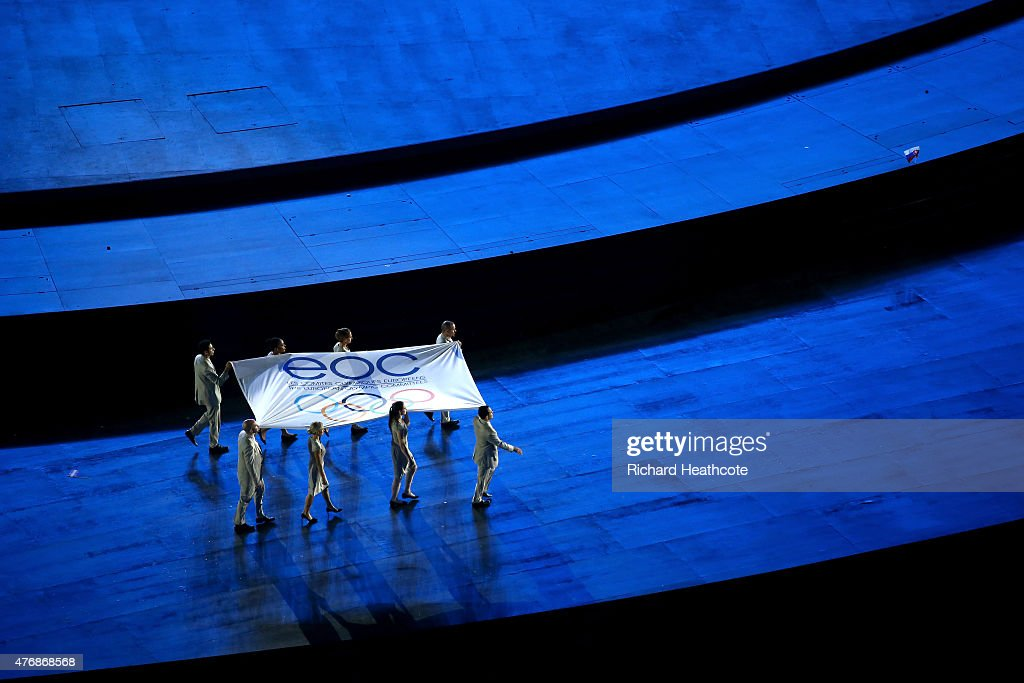 Flagbearers Namig Adullayev of Azerbaijan, Thomas Bimis of Greece, <a gi-track='captionPersonalityLinkClicked' href=/galleries/search?phrase=Niccolo+Campriani&family=editorial&specificpeople=5945371 ng-click='$event.stopPropagation()'>Niccolo Campriani</a> of Italy, <a gi-track='captionPersonalityLinkClicked' href=/galleries/search?phrase=Lucie+Decosse&family=editorial&specificpeople=609740 ng-click='$event.stopPropagation()'>Lucie Decosse</a> of France, <a gi-track='captionPersonalityLinkClicked' href=/galleries/search?phrase=Krisztina+Fazekas&family=editorial&specificpeople=2288888 ng-click='$event.stopPropagation()'>Krisztina Fazekas</a> Zur of Hungary, <a gi-track='captionPersonalityLinkClicked' href=/galleries/search?phrase=Katie+Taylor+-+Boxer&family=editorial&specificpeople=9601582 ng-click='$event.stopPropagation()'>Katie Taylor</a> of Ireland, <a gi-track='captionPersonalityLinkClicked' href=/galleries/search?phrase=Servet+Tazegul&family=editorial&specificpeople=4939988 ng-click='$event.stopPropagation()'>Servet Tazegul</a> of Turkey and <a gi-track='captionPersonalityLinkClicked' href=/galleries/search?phrase=Elena+Zamolodchikova&family=editorial&specificpeople=2145885 ng-click='$event.stopPropagation()'>Elena Zamolodchikova</a> of Russa carry the flag of the EOC during the Opening Ceremony for the Baku 2015 European Games at the Olympic Stadium on June 12, 2015 in Baku, Azerbaijan.