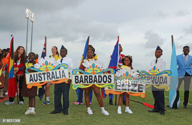 Flagbearers wait to enter the arena during the 2017 Youth Commonwealth Games Opening Ceremony on day 1 of the 2017 Youth Commonwealth Games at the...