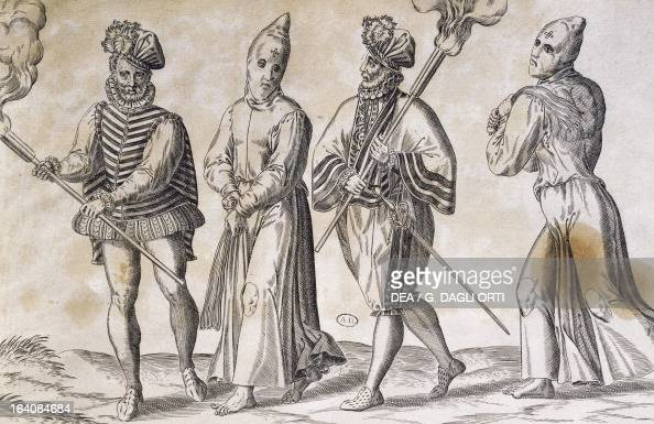 Flagellants and soldier engraving Spain 16th century Paris Bibliothèque Des Arts Decoratifs
