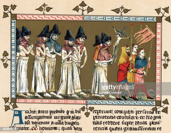 Flagellants in the Netherlands town of Tournai 1349 Flagellants known as the Brothers of the Cross scourging themselves as they walk through the...