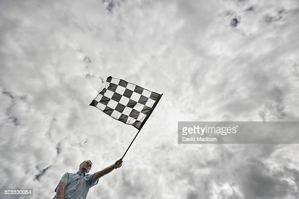 Flagger Waving Checkered Flag