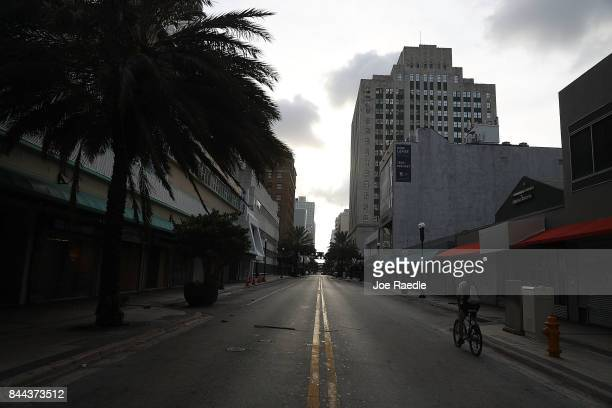 Flagler street in the heart of downtown is empty as people boarded up their business and now await the arrival of Hurricane Irma on September 8 2017...