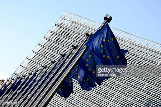EU flags and Berlaymont building