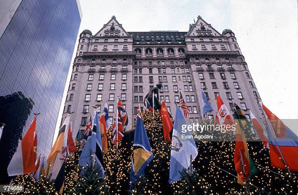 Flags and Christmas trees decorate the exterior of the Plaza Hotel December 1991 in New York City Michael Douglas and Catherine ZetaJones will wed at...