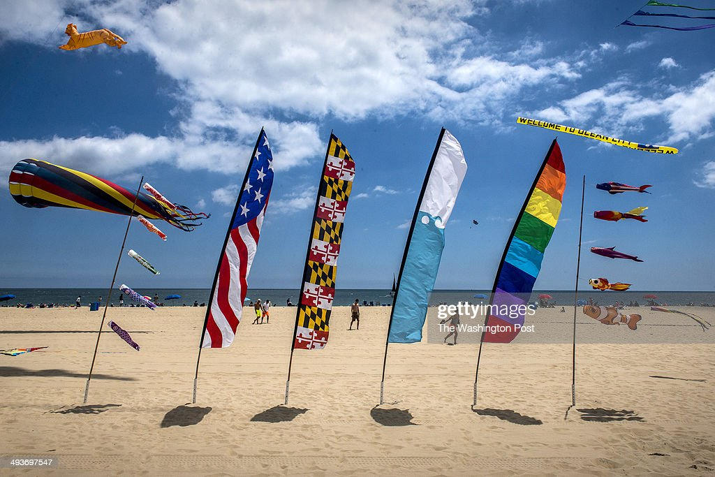 Flags and kites fill the sky on Memorial Day weekend at the beach on May, 24, 2014 in Ocean City, MD.