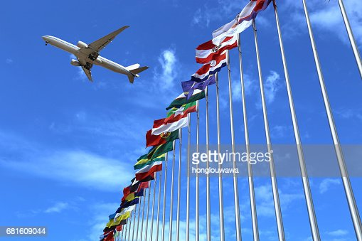 flags and plane : Stock Photo