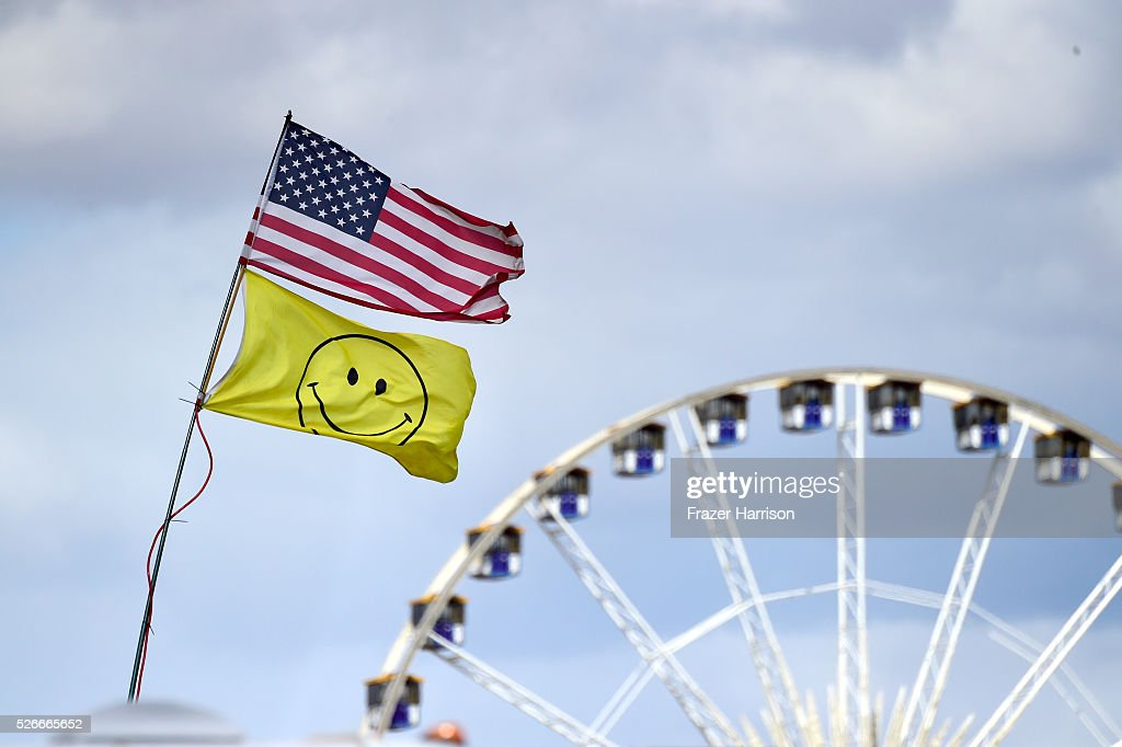 Flags and the ferris wheel are seen during 2016 Stagecoach California's Country Music Festival at Empire Polo Club on April 30, 2016 in Indio, California.