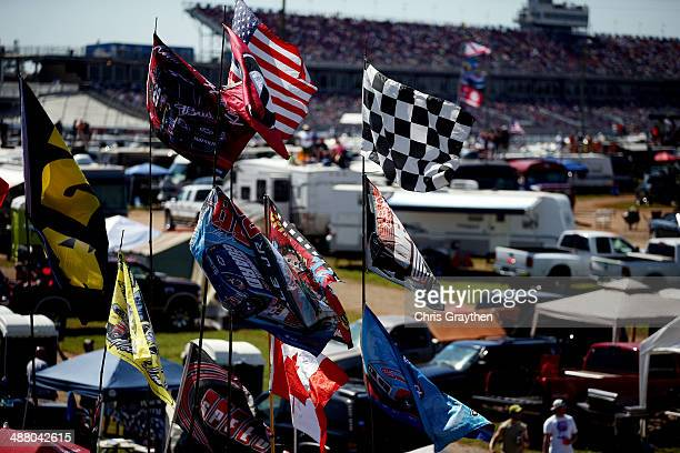Flags are seen in the infield during the NASCAR Nationwide Series Aaron's 312 at Talladega Superspeedway on May 3 2014 in Talladega Alabama