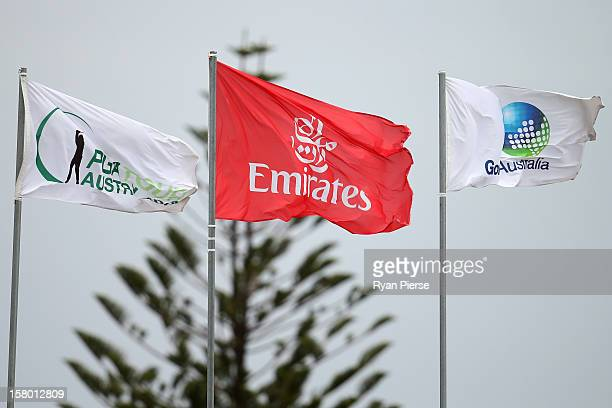 Flags are seen in the wind during round four of the 2012 Australian Open at The Lakes Golf Club on December 9 2012 in Sydney Australia